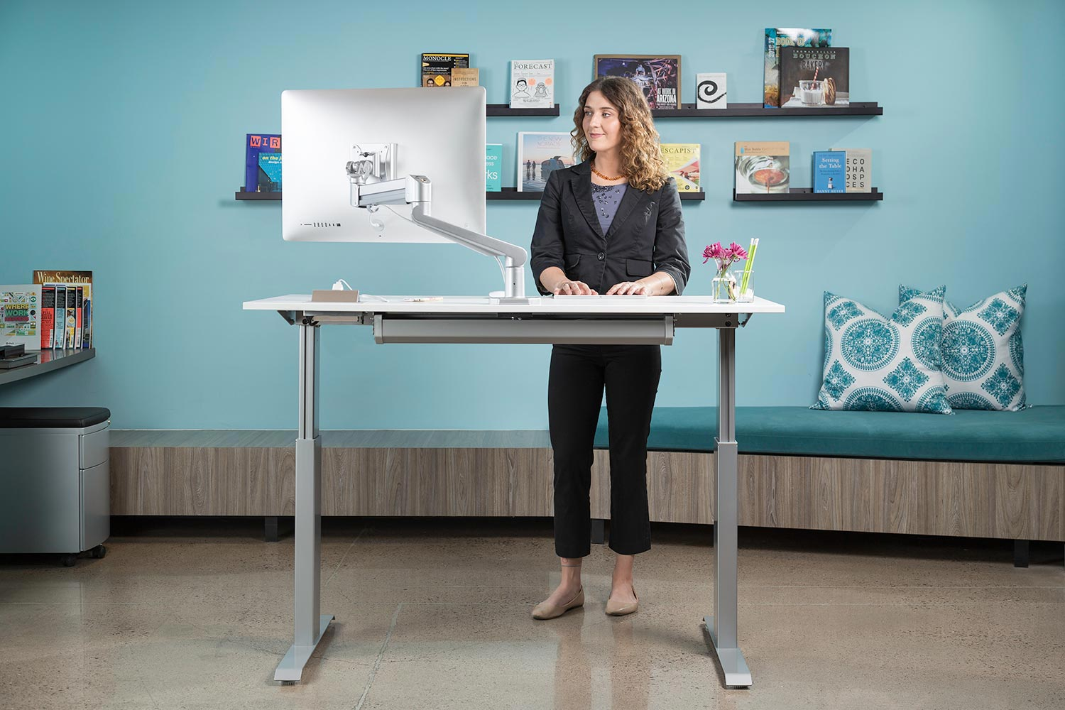 Sit stand adjustable desk flextable
